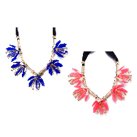 comeon® Jewelry Necklace, Zinc Alloy, with Satin Ribbon & Resin, Flower, gold color plated, for woman & with rhinestone, more colors for choice, Length:Approx 43.3 Inch, Sold By Strand