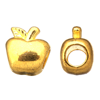 Zinc Alloy European Beads, Apple, gold color plated, without troll, 11x12x8mm, Hole:Approx 4.5mm, Sold By PC