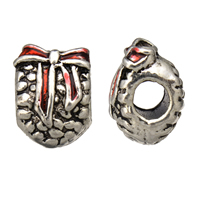 Enamel Zinc Alloy European Beads, antique silver color plated, without troll, 10x13x10mm, Hole:Approx 4.5mm, Sold By PC