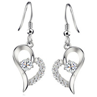 Cubic Zircon Brass Earring, Heart, platinum plated, with cubic zirconia, nickel, lead & cadmium free, 33x11mm, Sold By Pair