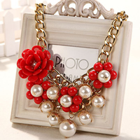 Fashion Statement Necklace, Zinc Alloy, with Glass Pearl & Resin, gold color plated, curb chain & for woman, more colors for choice, 60mm, Length:Approx 22.8 Inch, Sold By Strand