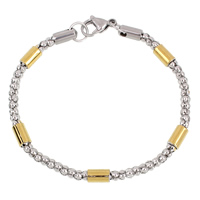 Unisex Bracelet, Stainless Steel, plated, lantern chain & two tone, 5x8mm, Length:Approx 8 Inch, Sold By Strand