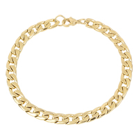 Unisex Bracelet, Stainless Steel, gold color plated, curb chain, 7x10x2mm, Length:Approx 8 Inch, Sold By Strand