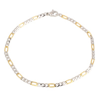 Unisex Bracelet, Stainless Steel, plated, figaro chain & two tone, 5x10x1.5mm, Length:Approx 8.5 Inch, Sold By Strand