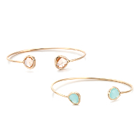 comeon® Jewelry Bracelet, Brass, with Crystal, Teardrop, gold color plated, open & for woman & faceted, more colors for choice, Inner Diameter:Approx 55mm, Length:Approx 7 Inch, Sold By PC