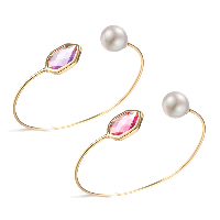 comeon® Jewelry Bracelet, Brass, with Crystal & Glass Pearl, gold color plated, open & for woman & faceted, more colors for choice, Inner Diameter:Approx 55mm, Length:Approx 7 Inch, Sold By PC