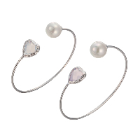 comeon® Jewelry Bracelet, Brass, with Crystal & Glass Pearl, Heart, silver color plated, open & for woman & faceted, more colors for choice, Inner Diameter:Approx 55mm, Length:Approx 7 Inch, Sold By PC
