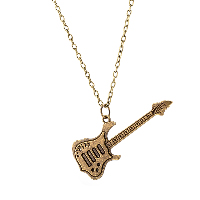 comeon® Jewelry Necklace, Zinc Alloy, with 1.9lnch extender chain, Guitar, antique bronze color plated, oval chain & for woman, 23x57mm, Length:Approx 18.1 Inch, Sold By Strand