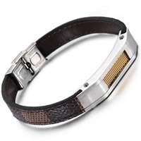 Unisex Bracelet, Cowhide, with Stainless Steel, plated, snakeskin pattern, 10mm, Length:Approx 8.4 Inch, Sold By Strand