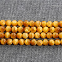 Tiger Eye Beads, Round, natural, different size for choice, gold, Grade AAAAA, Length:Approx 15.5 Inch, Sold By Strand
