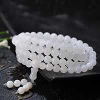 108 Mala Beads, Nature Tridacna Jade, Round, Buddhist jewelry & different size for choice & 4-strand, Grade AAAAA, Approx 108PCs/Strand, Sold By Strand