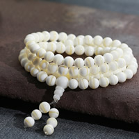 108 Mala Beads, Natural Gold Tridacna, Round, Buddhist jewelry & Unisex & 4-strand, 6mm, Length:Approx 25.5 Inch, Approx 108PCs/Strand, Sold By Strand