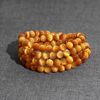 108 Mala Beads, Tiger Eye, Round, natural, Buddhist jewelry & 4-strand, gold, 6mm, Length:Approx 25.5 Inch, Approx 108PCs/Strand, Sold By Strand
