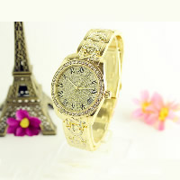 Unisex Wrist Watch, Stainless Steel, with zinc alloy dial & Glass, plated, with rhinestone, more colors for choice, 35mm, 18mm, Length:Approx 10.2 Inch, Sold By PC