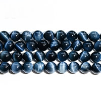 Tiger Eye Beads, Round, natural, different size for choice, blue, Grade AAAAA, Length:Approx 15.5 Inch, Sold By Strand