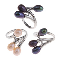 Cultured Freshwater Pearl Finger Ring, Brass, with Freshwater Pearl, Rice, platinum color plated, natural, more colors for choice, nickel, lead & cadmium free, 21x28x23.5mm, US Ring Size:7.5, Sold By PC