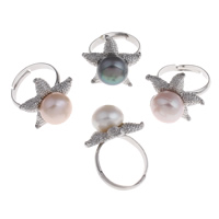 Cultured Freshwater Pearl Finger Ring, Brass, with Freshwater Pearl, Starfish, platinum color plated, natural & adjustable, more colors for choice, nickel, lead & cadmium free, 21.5x21mm, US Ring Size:7.5, Sold By PC