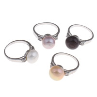 Cultured Freshwater Pearl Finger Ring, Brass, with Freshwater Pearl, Potato, platinum color plated, with cubic zirconia, more colors for choice, nickel, lead & cadmium free, 19x25.5x9.5mm, US Ring Size:5.5, Sold By PC