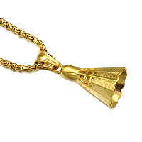 Stainless Steel Pendants, Badminton, gold color plated, 18x38mm, Hole:Approx 3x5mm, Sold By PC