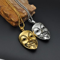 Stainless Steel Pendants, Mask, plated, blacken, more colors for choice, 42x72mm, Hole:Approx 3x5mm, Sold By PC