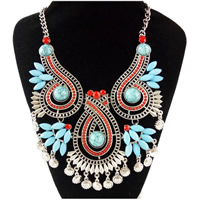 Fashion Statement Necklace, Zinc Alloy, with Synthetic Turquoise & Resin, antique silver color plated, Bohemian style & twist oval chain & for woman & faceted, Length:Approx 17 Inch, Sold By Strand