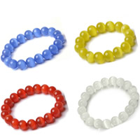 Cats Eye Bracelets, Round, different size for choice & for woman, more colors for choice, Length:Approx 7.5 Inch, Sold By Strand