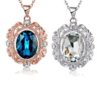 Crystal Zinc Alloy Pendants, with Crystal, Flat Oval, plated, with rhinestone, more colors for choice, 29x40mm, Hole:Approx 3x5mm, Sold By PC