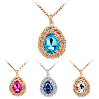 Crystal Zinc Alloy Pendants, with Crystal, Teardrop, plated, with rhinestone, more colors for choice, 26x41mm, Hole:Approx 3x5mm, Sold By PC