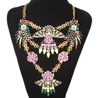 Fashion Statement Necklace, Zinc Alloy, with Crystal & Resin, antique gold color plated, twist oval chain & for woman & faceted & with rhinestone, Length:Approx 15.7 Inch, Sold By Strand