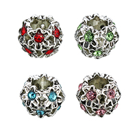 Rhinestone Zinc Alloy European Beads, antique silver color plated, without troll & with rhinestone & hollow, more colors for choice, 11x9x11mm, Hole:Approx 5mm, Sold By PC