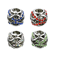 Rhinestone Zinc Alloy European Beads, antique silver color plated, without troll & with rhinestone & hollow, more colors for choice, 12x10.5x12mm, Hole:Approx 5mm, Sold By PC