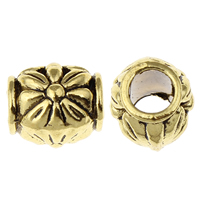 Zinc Alloy European Beads, Drum, antique gold color plated, without troll, lead & cadmium free, 10x10mm, Hole:Approx 4.5mm, 100G/Bag, Sold By Bag
