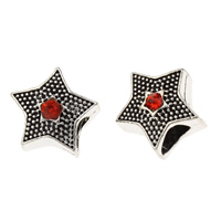 Rhinestone Zinc Alloy European Beads, Star, antique silver color plated, without troll & with rhinestone, lead & cadmium free, 12x11x9mm, Hole:Approx 4mm, 10PCs/Bag, Sold By Bag