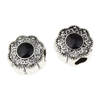 Enamel Zinc Alloy European Beads, Flower, antique silver color plated, without troll, lead & cadmium free, 13x13x9mm, Hole:Approx 4mm, 10PCs/Bag, Sold By Bag