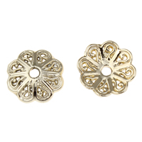 Zinc Alloy Bead Caps, Flower, real gold plated, lead & cadmium free, 13x3mm, Hole:Approx 1mm, 20PCs/Bag, Sold By Bag