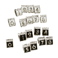 Rhinestone Zinc Alloy European Beads, Triangle, antique silver color plated, with number pattern & without troll & enamel & with rhinestone, more colors for choice, 7x9x10mm, Hole:Approx 5mm, Sold By PC