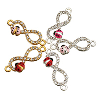 Rhinestone Zinc Alloy Connector, Infinity, plated, enamel & with rhinestone & 1/1 loop, more colors for choice, 27x10x4mm, Hole:Approx 2mm, Sold By PC
