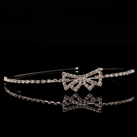 Bridal Tiaras, Brass, Bowknot, platinum color plated, with rhinestone, nickel, lead & cadmium free, 300mm, Sold By PC