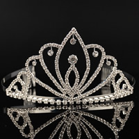 Bridal Tiaras, Brass, Crown, platinum color plated, for bridal & with rhinestone, nickel, lead & cadmium free, 300mm, Sold By PC