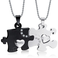 Stainless Steel Puzzle Couple Necklace, plated, ball chain & with letter pattern & with rhinestone, 25x45mm, Length:Approx 23.6 Inch, 2Strands/Set, Sold By Set