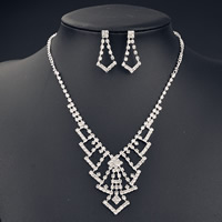 Wedding Jewelry Set, Brass, earring & necklace, with 5cm extender chain, platinum color plated, for bridal & with Austria rhinestone, nickel, lead & cadmium free, 400mm, Length:Approx 15.5 Inch, Sold By Set