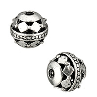 Zinc Alloy Hollow Beads, Round, antique silver color plated, 8x8.5x8.5mm, Hole:Approx 1.7mm, Sold By PC