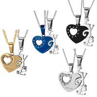 Stainless Steel Puzzle Couple Pendant, word love, plated, with rhinestone, more colors for choice, 24x41mm,33mm, Hole:Approx 3x6mm, 2PCs/Set, Sold By Set