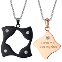 Stainless Steel Puzzle Couple Pendant, plated, with letter pattern & with rhinestone, 17x20mm,23x25mm, Hole:Approx 3x4mm, 2PCs/Set, Sold By Set