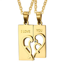 Stainless Steel Puzzle Couple Pendant, Rectangle, word I love you, gold color plated, with rhinestone, 10x36mm,12x38mm, Hole:Approx 3x6mm, 2PCs/Set, Sold By Set