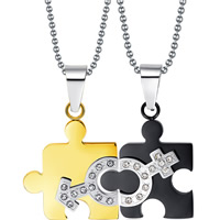 Stainless Steel Puzzle Couple Necklace, plated, ball chain & with rhinestone, 22x26mm,22x26mm, Length:Approx 23.6 Inch, 2Strands/Set, Sold By Set