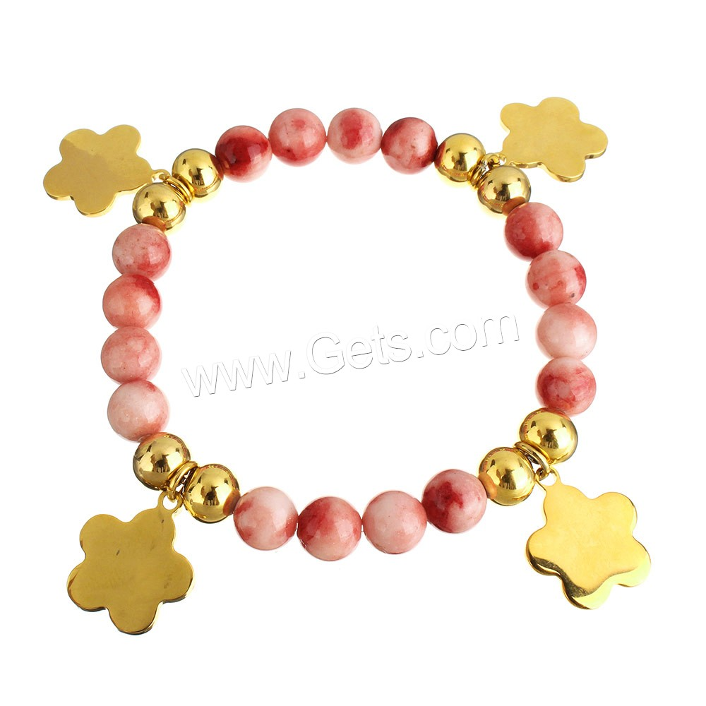 Jade Bracelets, Stainless Steel, with Dyed Jade, Flower, gold color plated, charm bracelet & for woman, 16x18.5x1mm, 8mm, Length:Approx 7.5 Inch, Sold By Strand