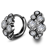 Cubic Zirconia Micro Pave Brass Earring, plumbum black color plated, with 925 logo & micro pave cubic zirconia, lead & cadmium free, 9x14mm, Sold By Pair