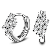 Cubic Zirconia Micro Pave Brass Earring, real silver plated, with 925 logo & micro pave cubic zirconia, lead & cadmium free, 6x14mm, Sold By Pair
