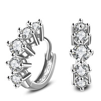Cubic Zircon Brass Earring, real silver plated, with 925 logo & with cubic zirconia, lead & cadmium free, 15x17mm, Sold By Pair